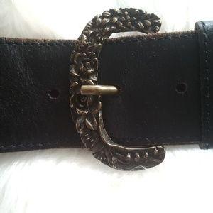 Albatros leather Italian belt brown antique buckle